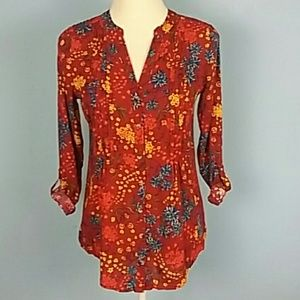 Anthropologie Maeve button-front blouse bright